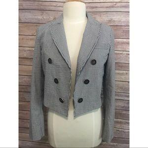 Tibi seersucker striped blue white blazer jacket